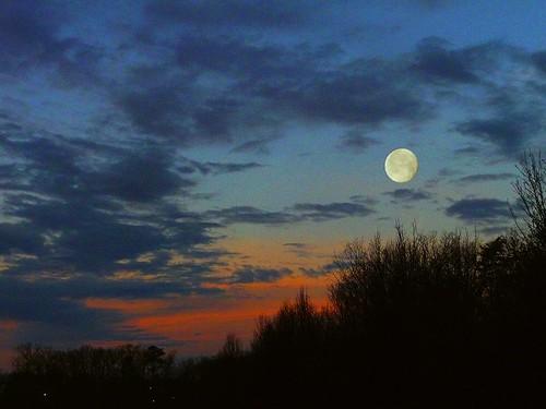 winter red sky moon color nature clouds sunrise landscape dawn serene drama