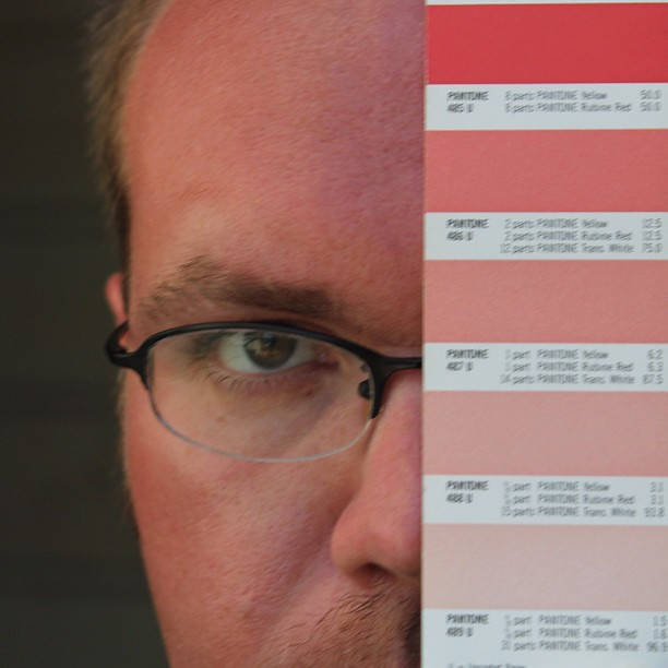 My sunburn falls somewhere between Pantone 485 and 486 Red… | Flickr