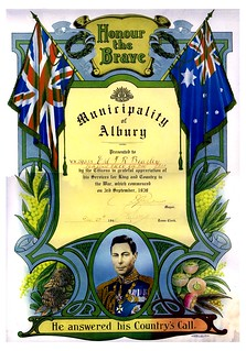 20 Dec 1945 - Honour the Brave Scroll presented to VX29538 Corporal Thomas Robert Beazley, 2/4th Anti Malaria Control Unit, 9th Division, 2nd Australian Imperial Force