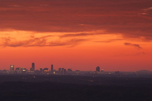 city atlanta sunset orange skyline clouds ga georgia twilight dusk citylights stonemountain atlantaga stonemountainpark kennesawmountain