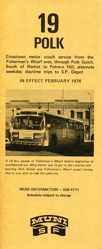 Muni 19 Polk February 1974 Schedule Crosstown Motor
