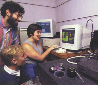Then Assistant Professor of Physics David Tanenbaum with students Torrin Hultgren '00 and Anastasia Clower '00 with the nuclear force microscope in Tanenbaum's lab in 1999
