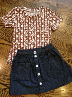 Hopscotch skirt  and Sweet Polly's Play Clothes Tee size 2
