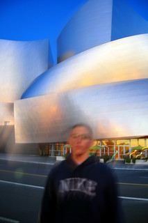 Trying to block my shot of Disney Hall