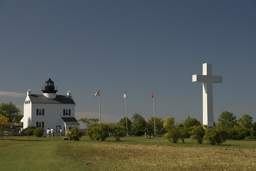 St. Clement's Island with lighthouse and cross