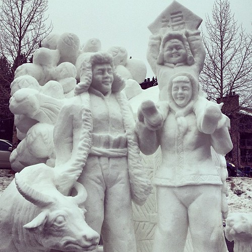 Team China created a happy family enjoying the cold together for the 2013 International Snow Sculpture Championships | by elysianstudiosart
