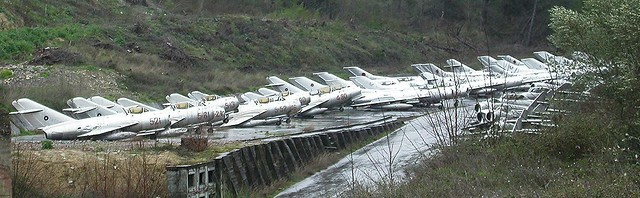 Storage lines of Shenyang & MiG aircraft languishing at Kucove Airbase, near the city of Berat in Albania. 14 March 2013.
