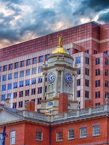 unitedstates landmark hartford connecticut ct old state house downtown register historic nrhp tower cupola clock restored architecture federal colonial stye victorian revival history architect charles bulfinch boston public onasill sunset golden clouds sky outdoor dome