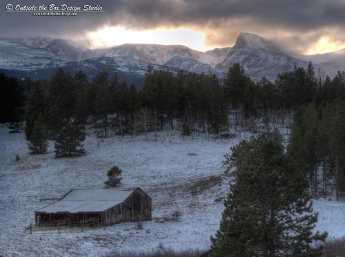 ranch winter sunset storm mountains barn colorado indianpeaks bouldercounty mountaudubon peaktopeakhighway overlandroad sawtoothpeak