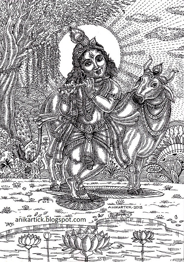 Little KRISHNA with his favourite Cow - Krishna Mesmerize
