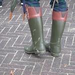 dark green & red brown rain boots