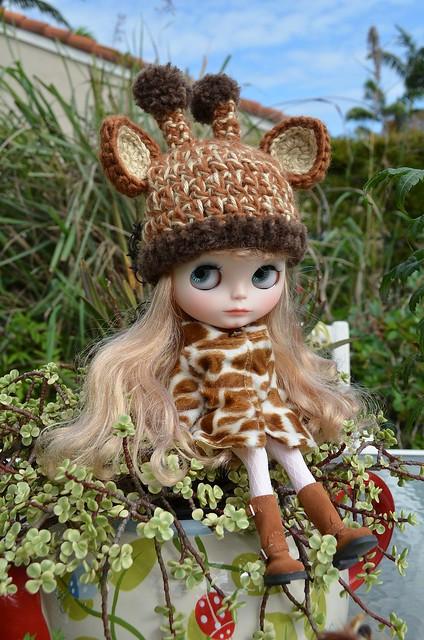 Marie wearing her beautiful giraffe hat