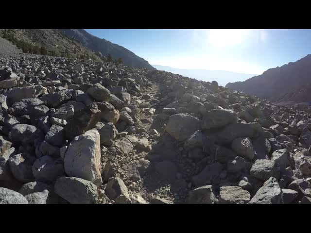 2436 GoPro video as I walk across the talus field on the Kearsarge Pass Trail
