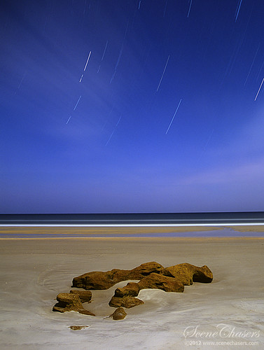 nightphotography blue sea film beach night stars rocks florida photographers midnight greater nocturne marineland provia100f startrails longexposures greatphotographers nightonearth greaterphotographers scenechasers