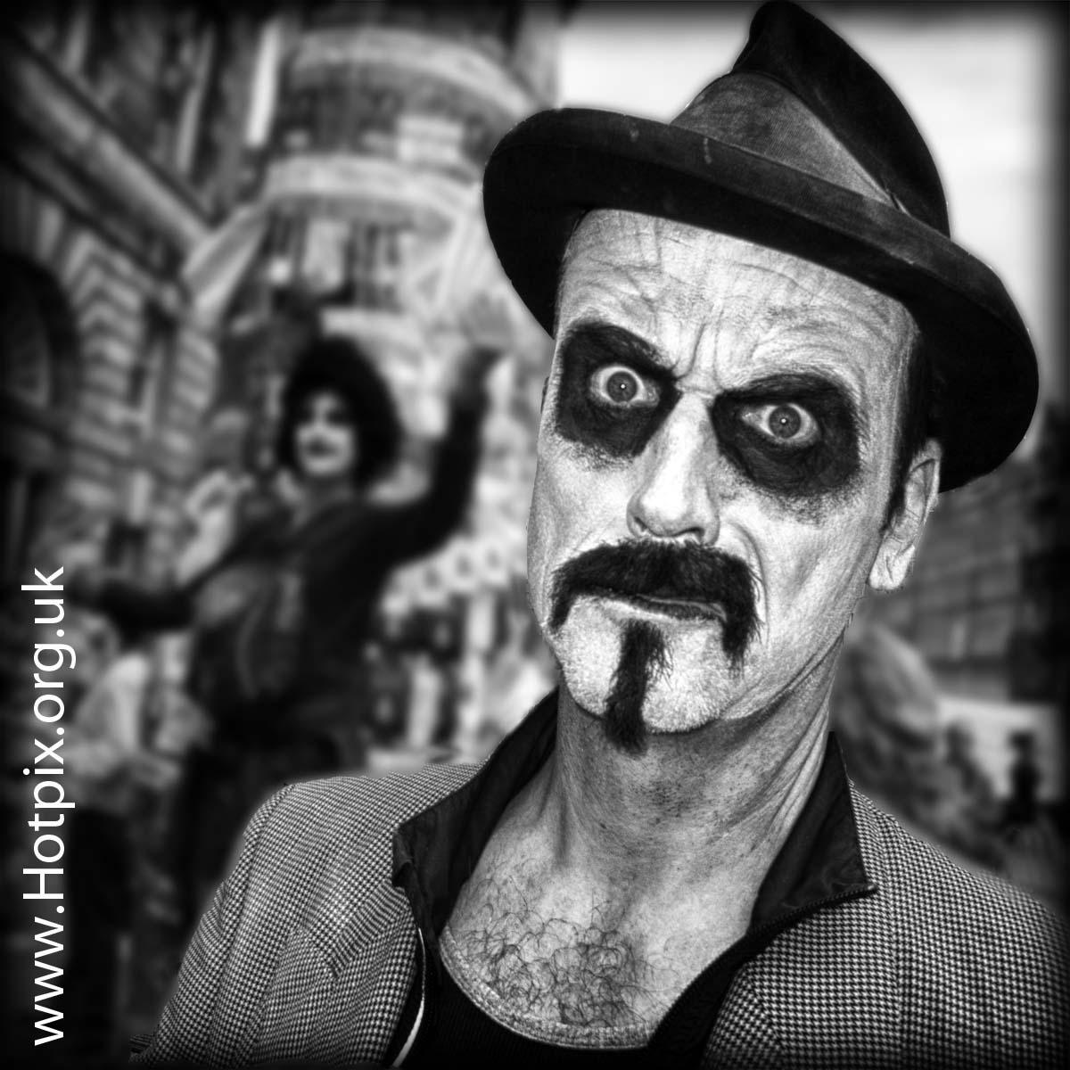 fringe2012,fringe,2012,Edinburgh,Scotland,High,St,Street,Royal,Mile,portrait,character,man,scary,image,photo,movie,hat,shallow,focus,mr,mrs,clarke,medicine,show,event,B/W,mono,square,HDR,urban,contrast,@hotpixuk