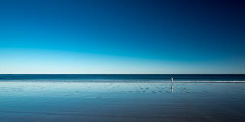 ocean blue sky reflection beach water horizon newhampshire atlantic hampton