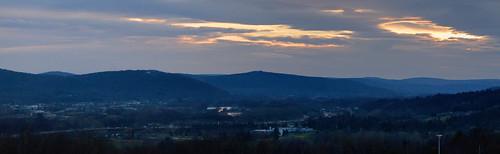 sunset panorama ny clouds dusk highschool johnsoncity susquehannariver hugin