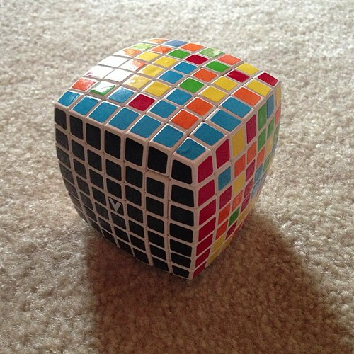 I got 1 layer of the 7x7 cube. The 2nd layer is proving to be more difficult. | by zpao