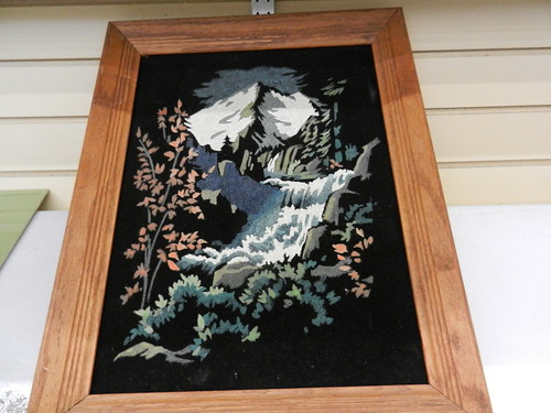 Vintage Black Velvet Paint by Number Snowy Mountain and Waterfall.