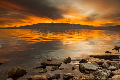 sunset sky orange mountain cold color reflection water yellow rock clouds reflections grey utah nikon rocks colorful cloudy lakemountain utahlake utahcounty d90 americanfork lr4 superedited utahlakesunset americanforkboatharbor endingthedayright