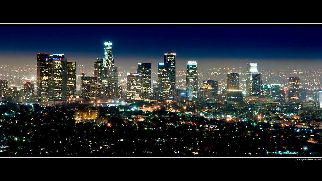 Los Angeles Skyline At Night Wallpaper Desktop Backgroun
