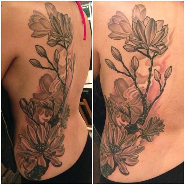 Magnolia Flowers Blackandgrey Tattoo Wwwnathanieltatt Flickr