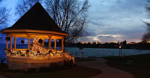 christmas decorations sunset lake ny tree lights dickens pavillion skaneateles