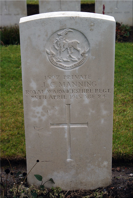 J.C.Manning, Royal Warwickshire Regiment, 1915, War Grave, Oosttaverne Wood