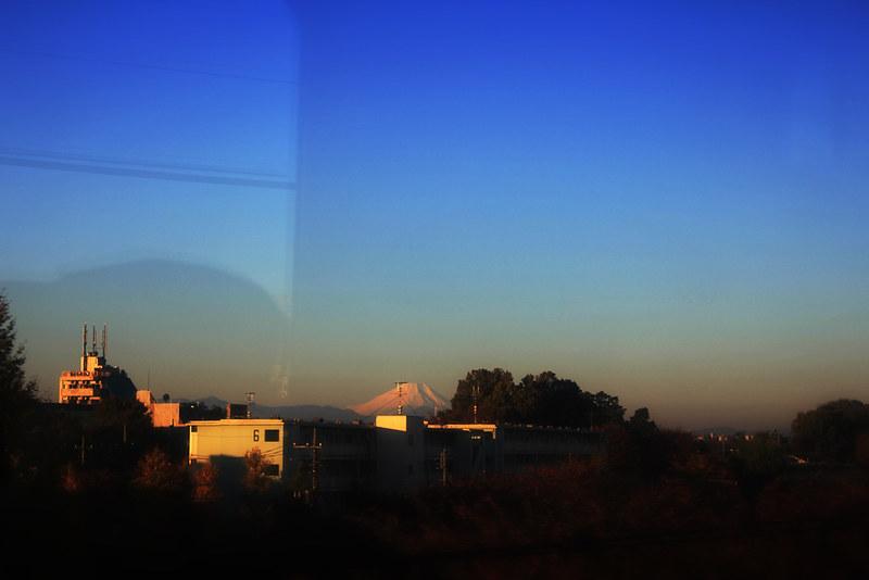 レッドアロー号から見える富士山