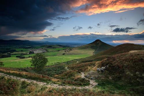 roseberrytopping sunset stormy northyorksmoors northyorkshiremoors nationalpark yorkshire path tree hill canon760d sigma1020mmf456exdchsm ndhardgrad12