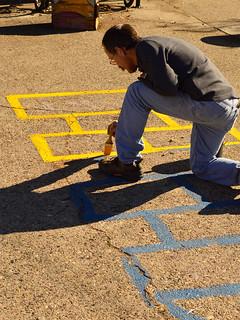 Painting Hopscotch Lines