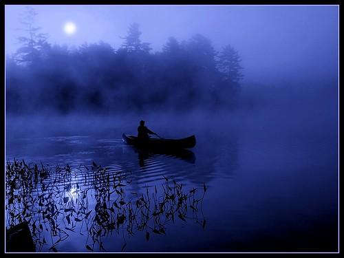 blue moon lake canoe midnight moonlight paddling adirondack