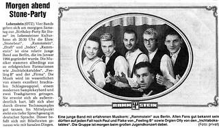 Rammstein in 1994, newspaper article