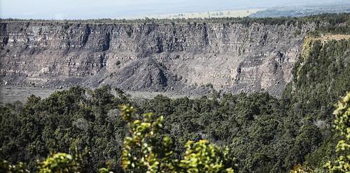 hawaii hawaiivolcanoesnationalpark kīlauea kīlaueassummitcrater caldera cliffs crater volcano trees taluscone wyojones np