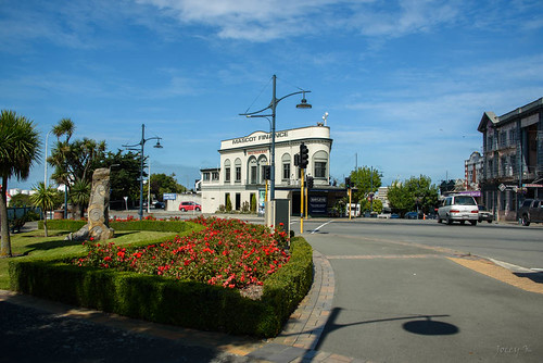newzealand nikond750 southisland timaru buildings architecture trees sky clouds street road flowers shadows cars