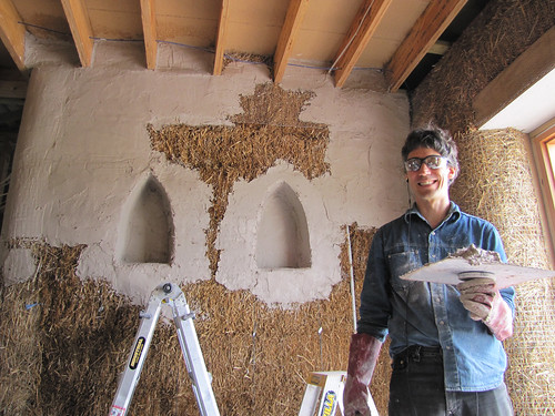 Plastering the Niches in Main Bedroom - Strawbale House Build in Redmond Western Australia