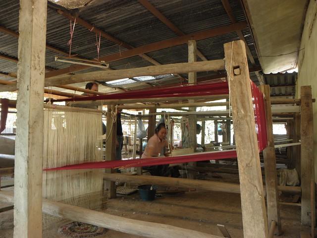 Weaving in a village in Laos