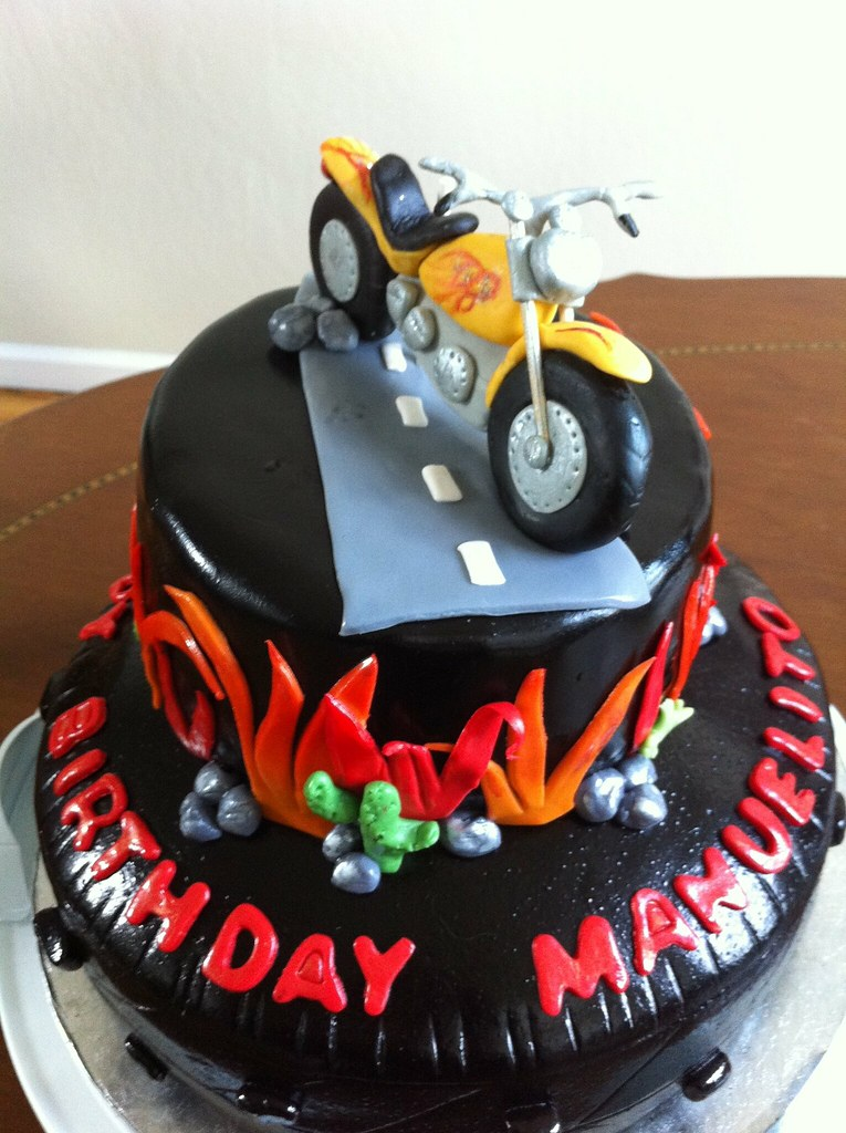 Marvelous Motorcycle Birthday Cake Eardon Flickr Funny Birthday Cards Online Alyptdamsfinfo