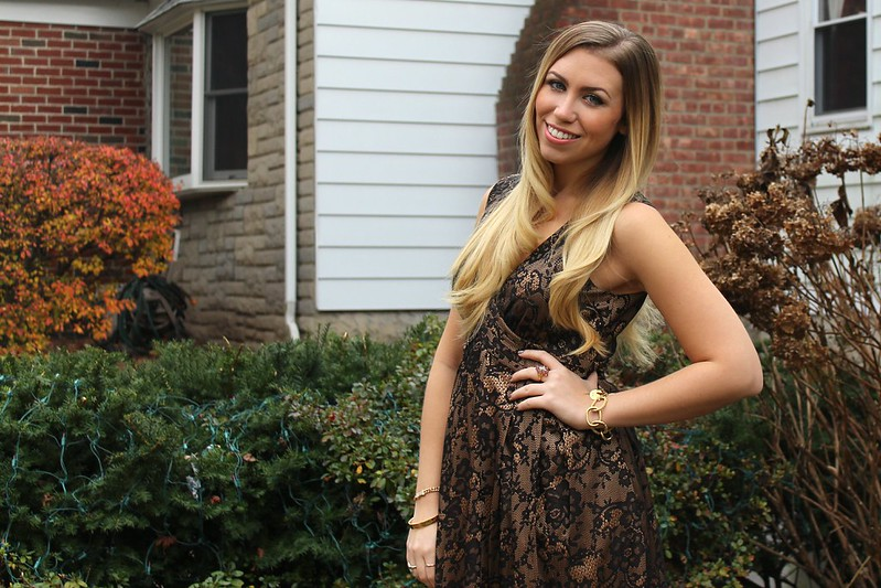 Bronze Black Lace Dress | Holiday 2012 Outfit | A Look Back at 10 Years of Blogging Living After Midnite Blogger Jackie Giardina