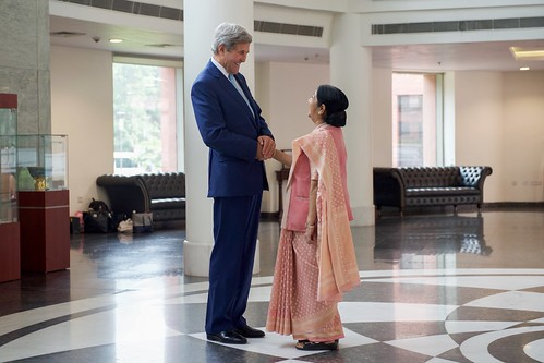 Secretary Kerry Shakes Hands With Indian Minister of External Affairs Shushma Swaraj  After he Arrived to Jawarhalal Nehru Bhawan in New Delhi | by U.S. Department of State