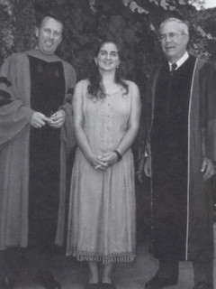 President Peter Stanley is joined after Opening Convocation on September 2, 1993, by ASPC President Lorig Charkoudian '95 and Dr. Robert Tranquada '51, chairman of the Board of Trustees