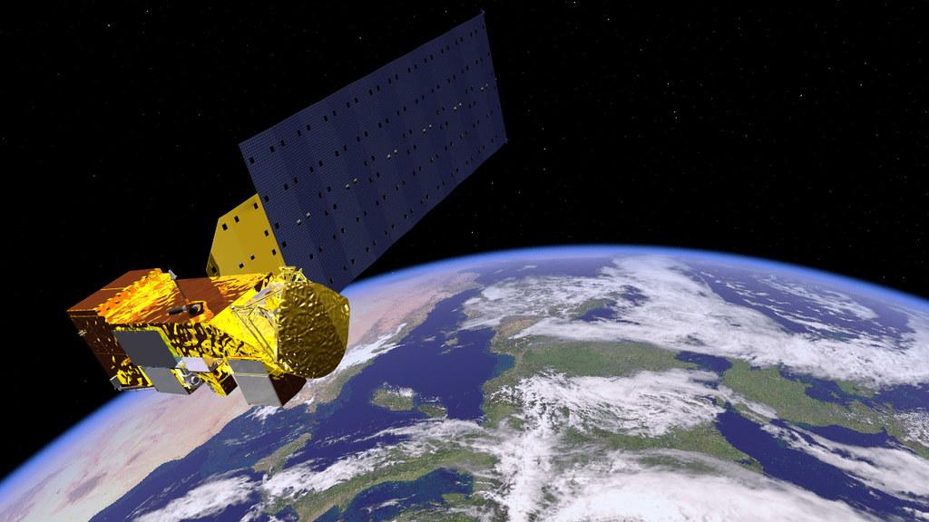 Artist's rendering of NASA's Aqua Satellite Orbiting Earth