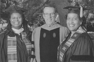 Commencement 1996: Civil rights activist and honorary degree recipient Myrlie Evers-Williams with President Peter W. Stanley and then Associate Professor of Music Gwendolyn Lytle