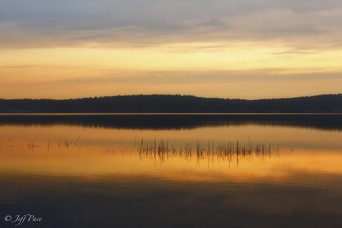 autumn lake clouds sunrise
