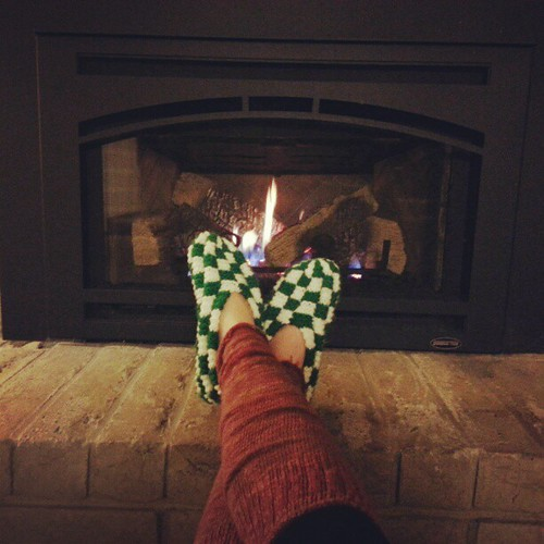 Grandma slippers and orange legwarmers. Happy Thanksgiving!