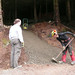 Sat, 11/10/2007 - 16:01 - On the 10th of November 2007 the Trailfairies rebuilt the exits to The Pie Run, a section of trail that they had built back in 2005.  In this shot Andy Wardman is preparing the surface of the smoothest of the trail's three exits prior to starting up the wacker plate. Andy can be a bit of a perfectionist about this but if done right it does produce a hard wearing surface that will stand up to a lot of use.
