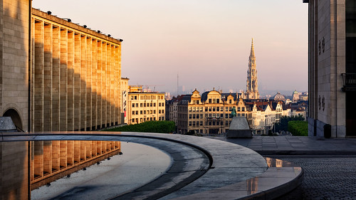 239366 366 brussels city good instadaily landscape lines montdesarts morning picoftheday project reflection shadow tower townhall urban walls