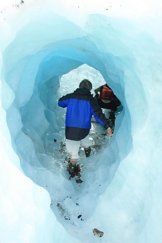 Jill and Bia in ice tunnel on Fox Gacier