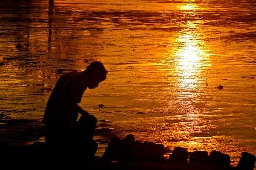 sunset nature silhouette lowtide johor muar westmalaysia