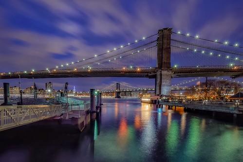 travel nikond5300 night brooklyn pier clouds water cityscape manhattan longexposure bridge city newyork